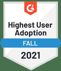 g2 highest user adoption badge