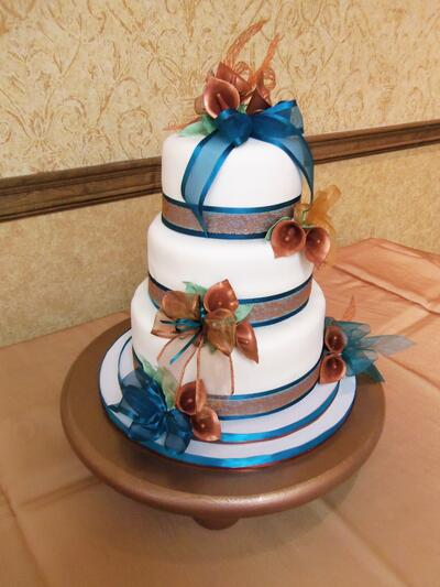 teal and copper wedding
